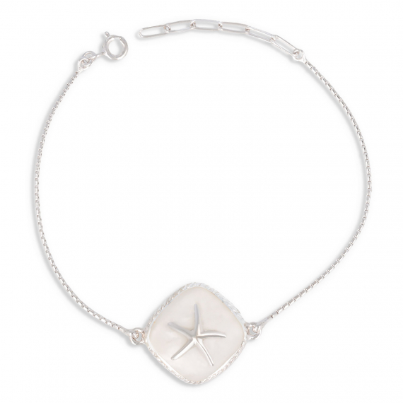 925 Sterling Silver White Mother-of-pearl Starfish Bracelet