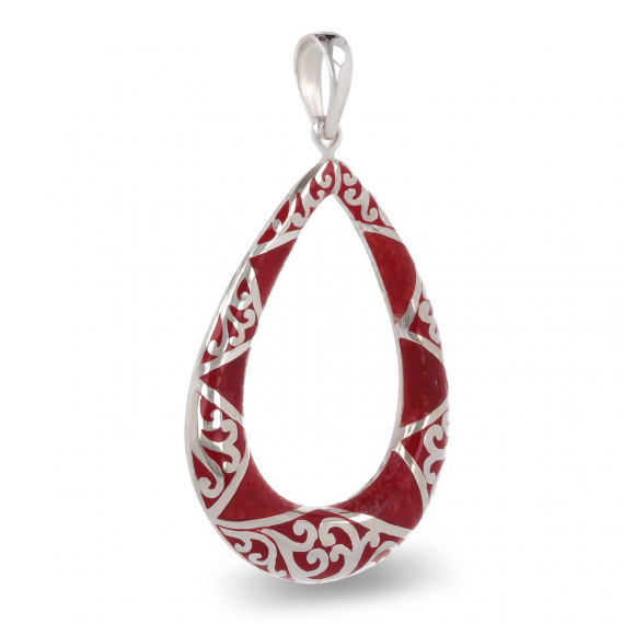 925 Sterling Silver Coral Pear Shape Pendant
