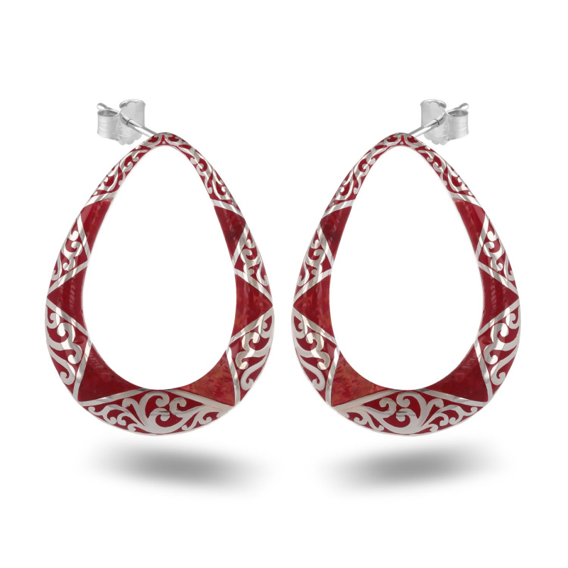 Earrings coral and lacework silver 925 K