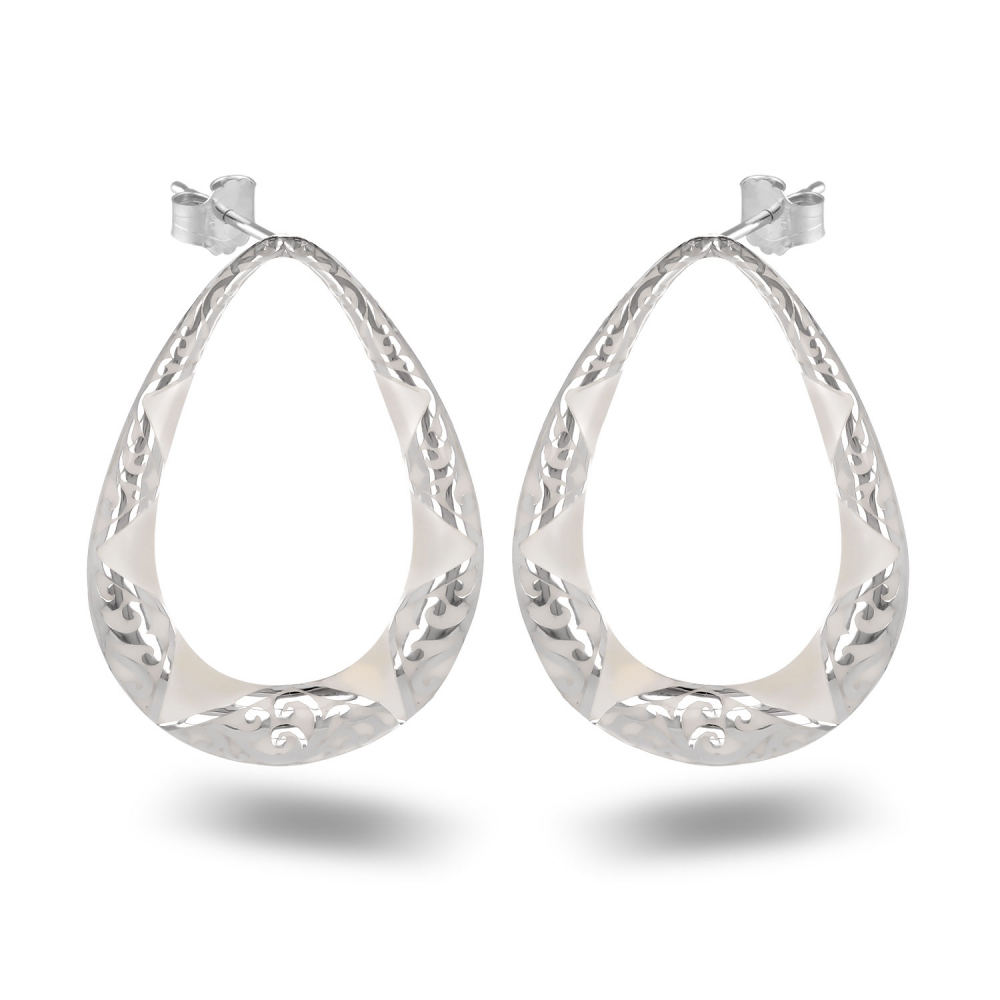 Earrings white mother of pearl and lacework silver 925 K
