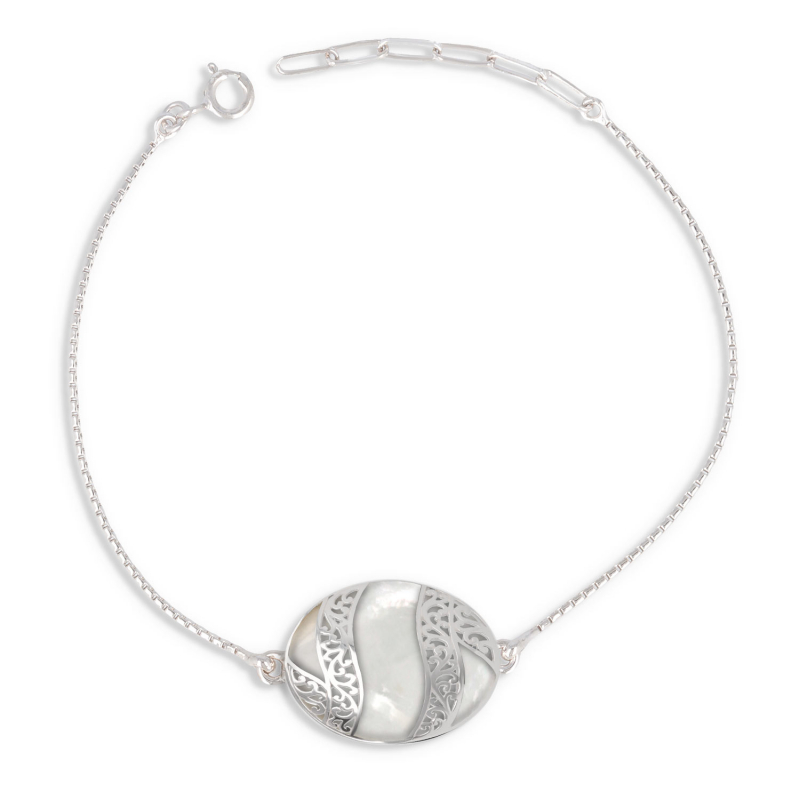 Cabochon bracelet of mother-of-pearl white and silver lace 925 K