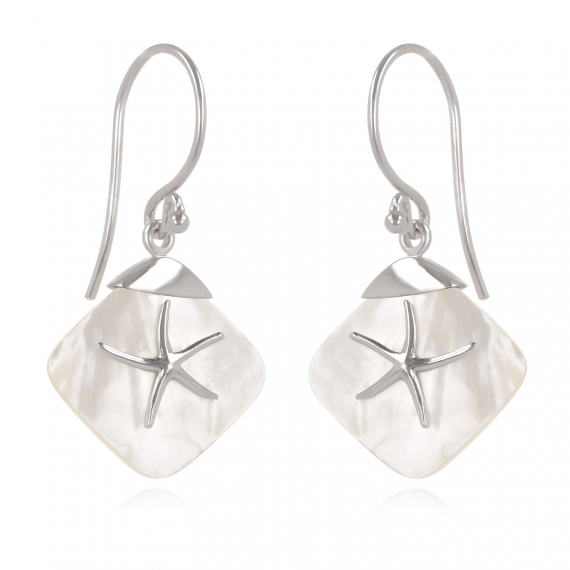 925 Sterling Silver White Mother-of-pearl Starfish Earrings