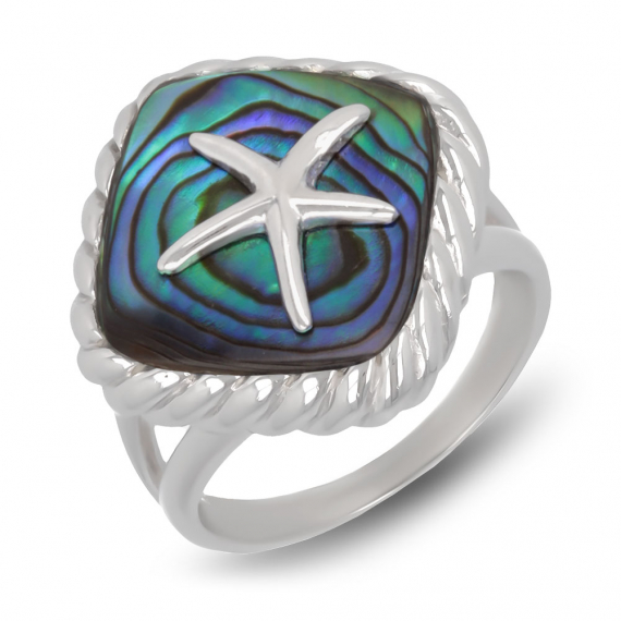 925 Sterling Silver Abalone Mother-of-pearl Starfish Ring