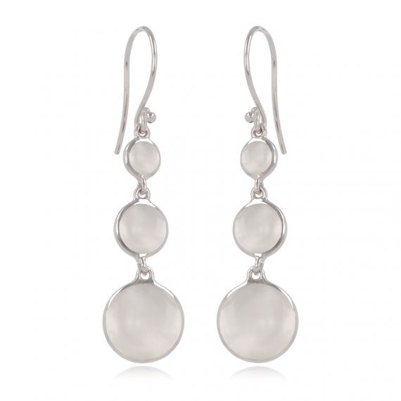 925 Sterling Silver White Mother-of-pearl Round Shape Earrings