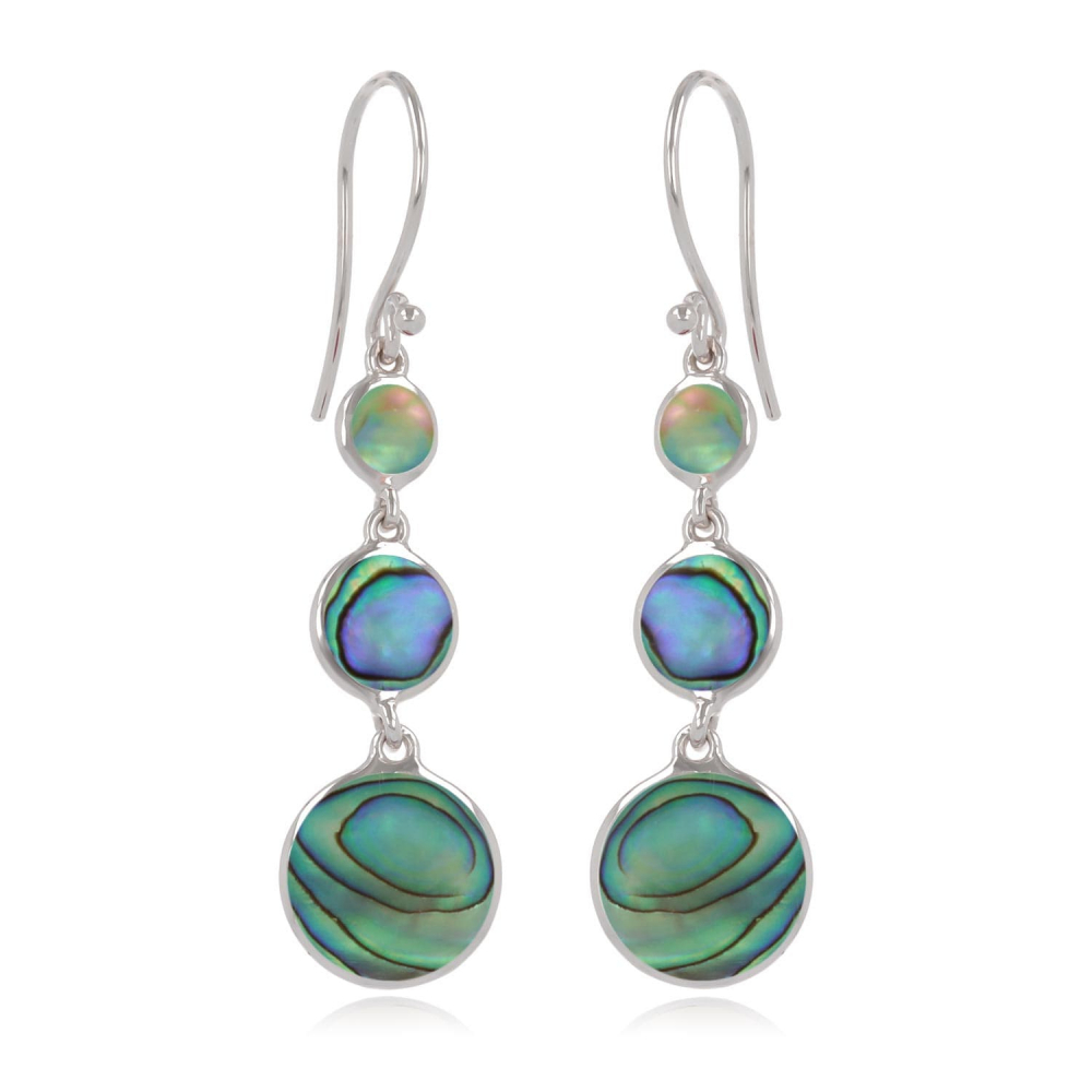 925 Sterling Silver Abalone Mother-of-pearl Round Shape Earrings