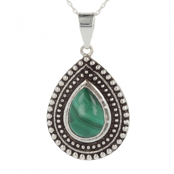 925 Sterling Silver Turquoise Drop Shape Pendant