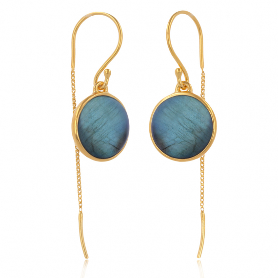 Gold Plated 925 Sterling Silver Labradorite Round Shape Earrings