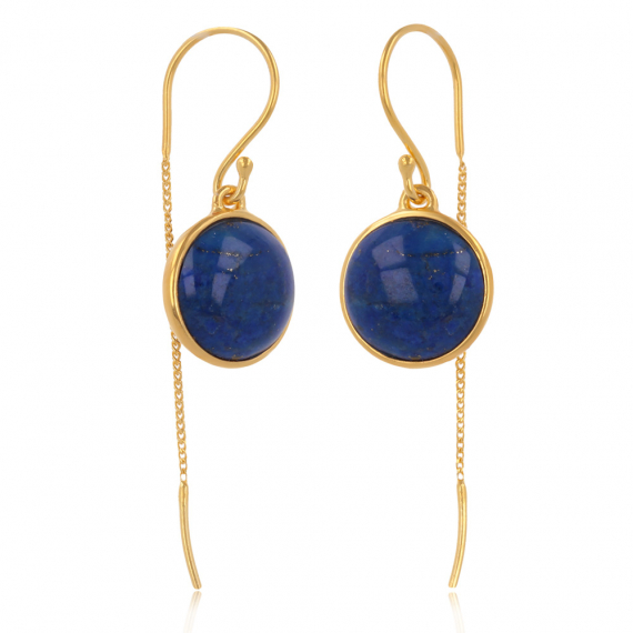 Gold Plated 925 Sterling Silver Lapis Lazuli Round Shape Earrings