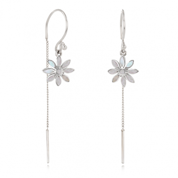 925 Sterling Silver White Mother-of-pearl Flower Earrings