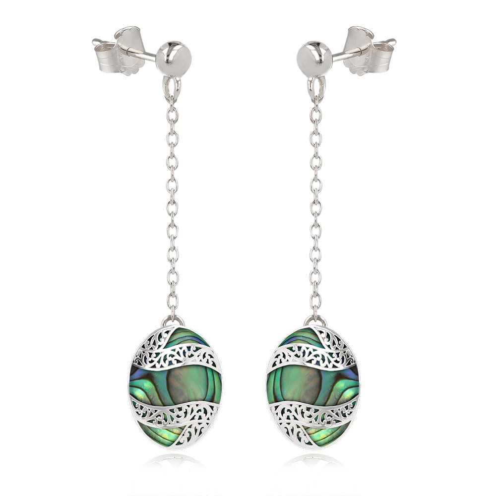 925 Sterling Silver Abalone Mother-of-pearl Oval Shape Earrings