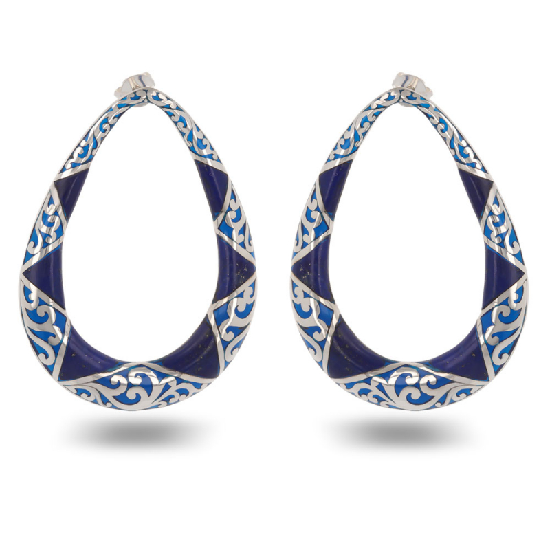 Earrings abalone mother of pearl and lacework silver 925 K