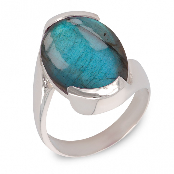 925 Sterling Silver Labradorite oval Shape Ring