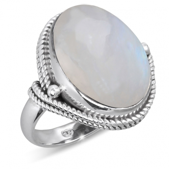 925 Sterling Silver Moon oval Shape Ring