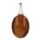 Tiger eye pendant in oval shape finely set with silver-Unique piece