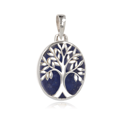 gift idea for women-Gift Jewelry Symbol Tree of Life-Pendant - Lapis Lazuli- Sterling Silver-Oval-Woman