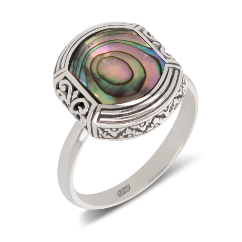 925 Sterling Silver Abalone Mother-of-pearl Ethnic Ring