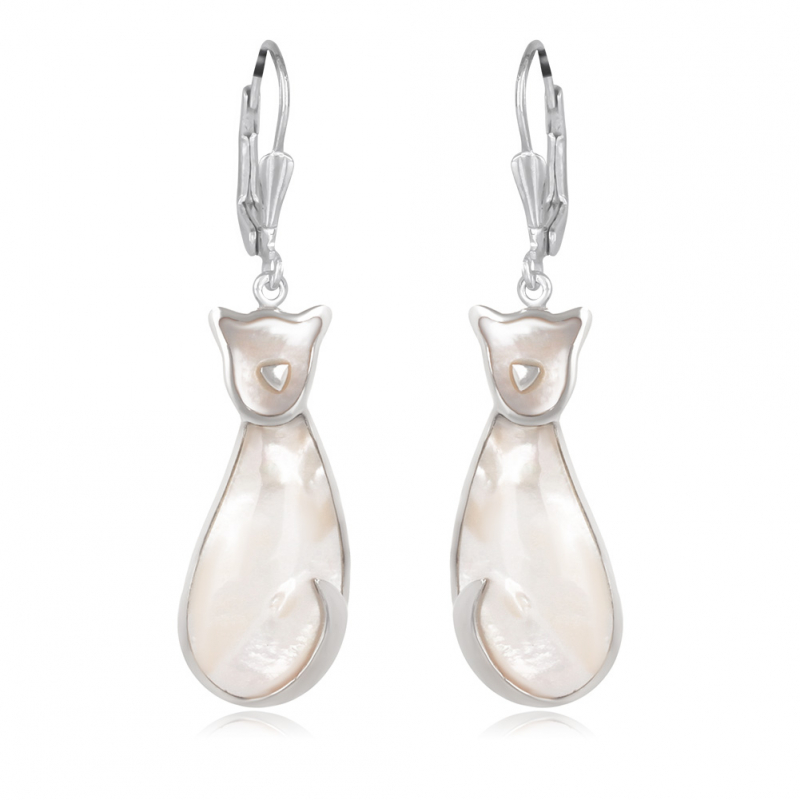 925 Sterling Silver White Mother-of-pearl Cat Earrings