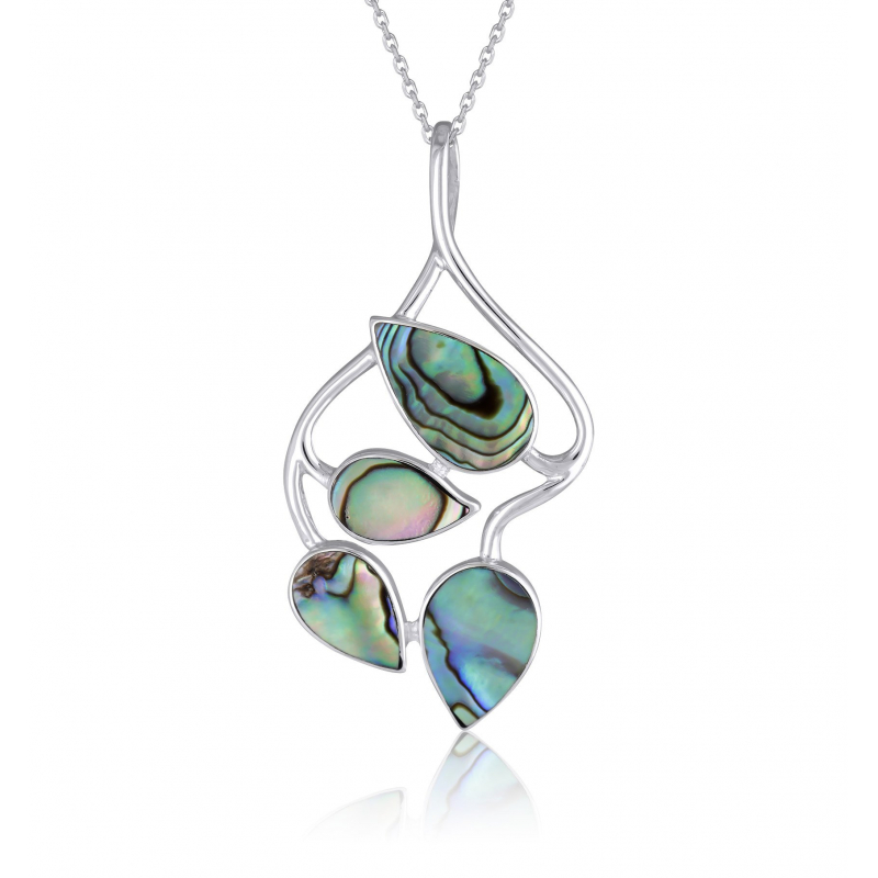 925 Sterling Silver Abalone Mother-of-pearl Flower Pendant