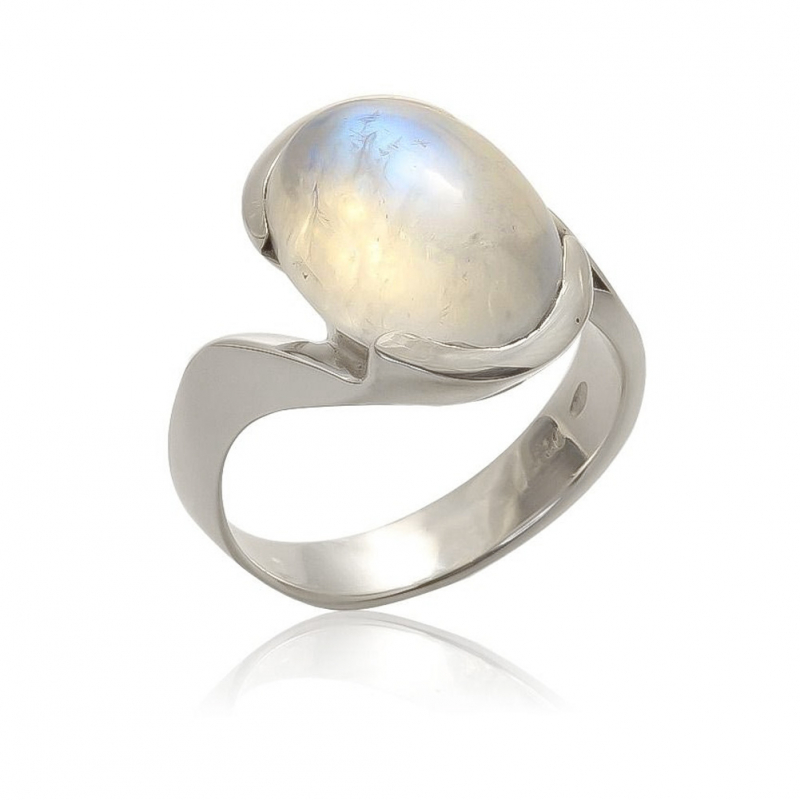 Moonstone design ring oval shape with rhodium 925 sterling silver