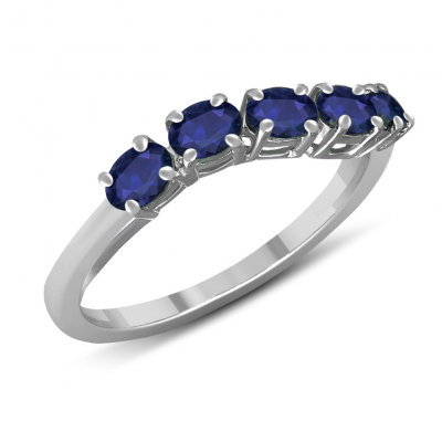 Engagement ring 5 sapphire stones on rhdoium 925 sterling silver