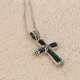 Abalone mother-of-pearl pendant cross shape with rhodium 925 sterling silver