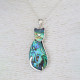 Abalone mother-of-pearl pendant cat shape on rhodium 925 sterling silver
