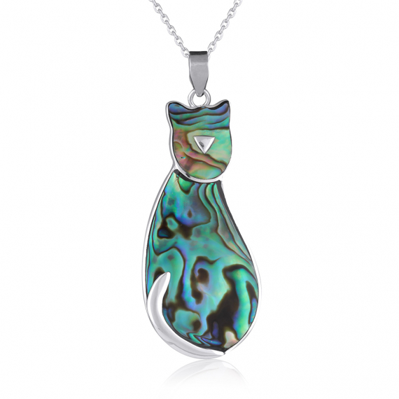 925 Sterling Silver Abalone Mother-of-pearl Cat Pendant