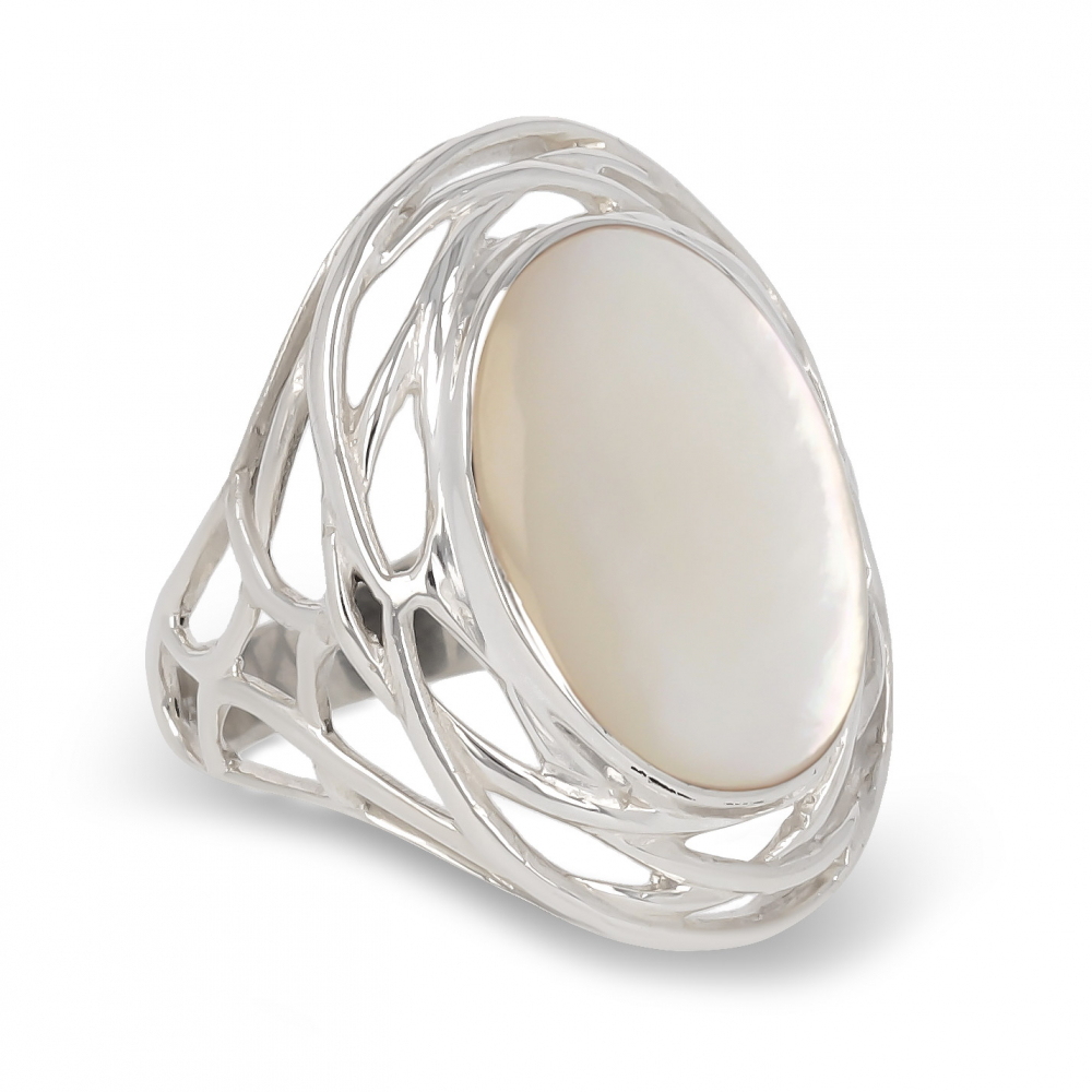 Ovaler Cabochon-Ring aus Korallen Silver Nest Woman Red