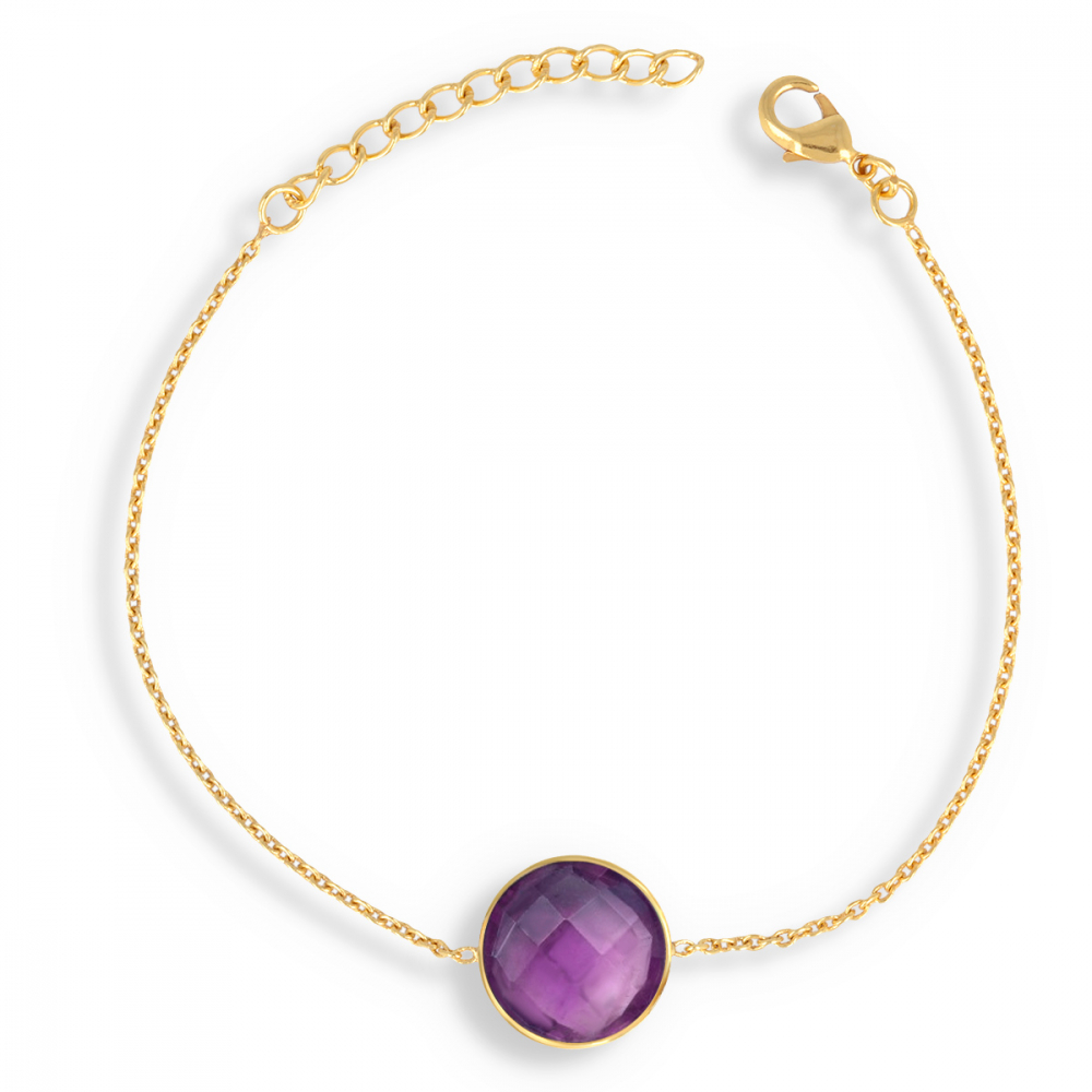 Gold Plated Faceted Amethyst Round Shape Bracelet