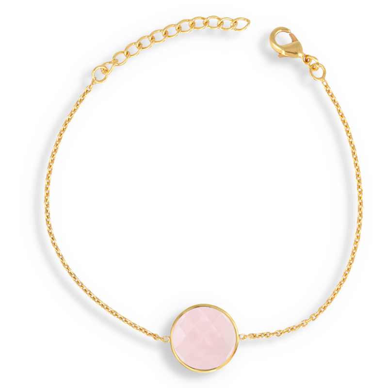Vergoldet Facettierte Rosa Quarz Rund Form Armband