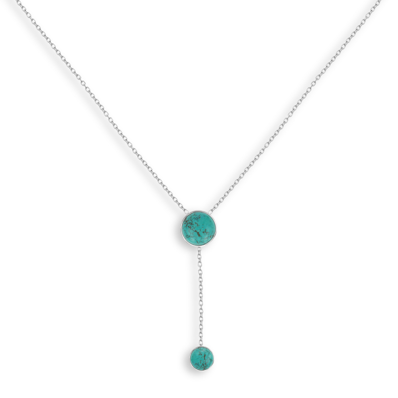 925 Sterling Silver Turquoise Round Shape Necklace