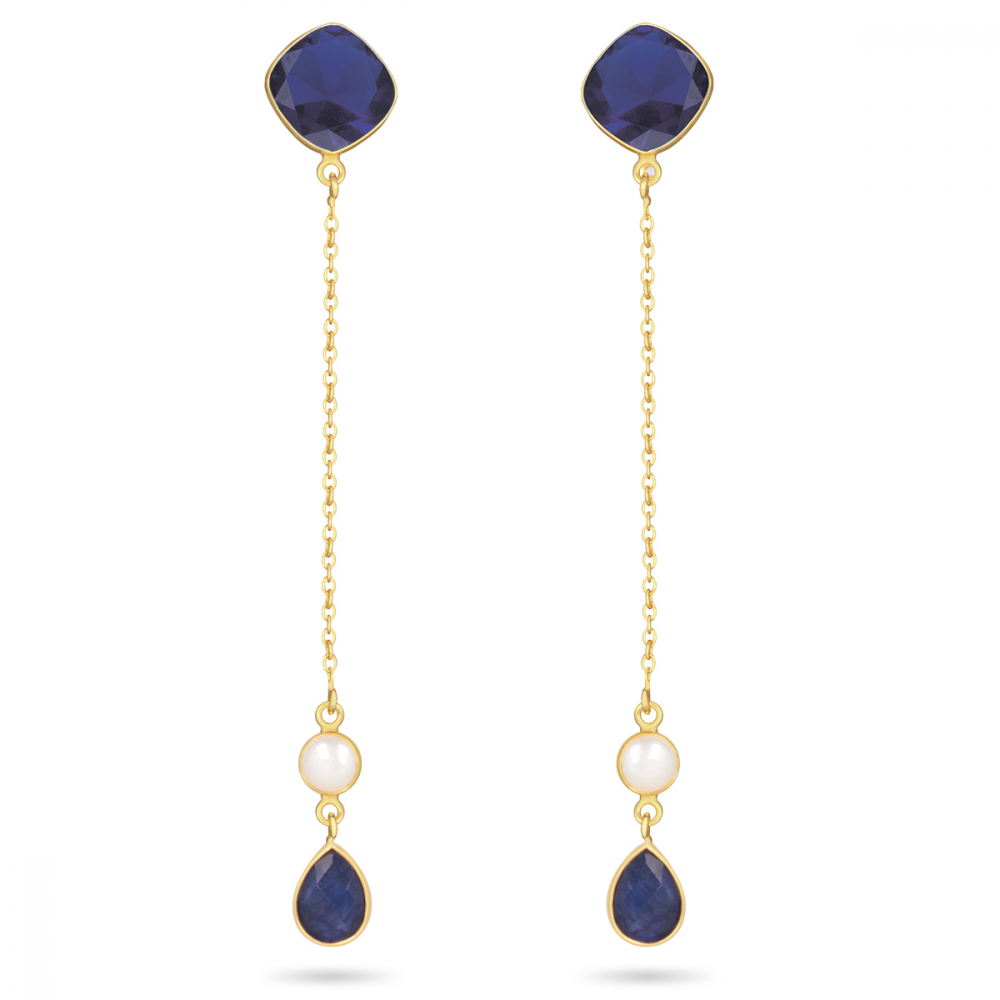 Gold Plated 925 Sterling Silver Sapphire Earrings
