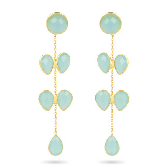Gold Plated 925 Sterling Silver Chalcedony Earrings