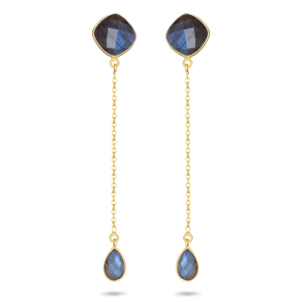 Gold Plated 925 Sterling Silver Faceted Labradorite Earrings