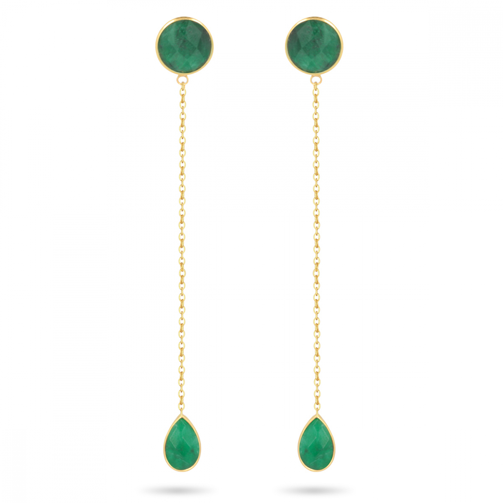 Gold Plated 925 Sterling Silver Faceted Emerald Earrings