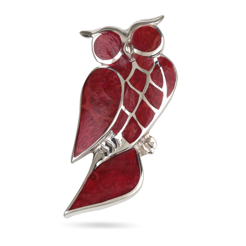 925 Sterling Silver Coral Owl Pendant