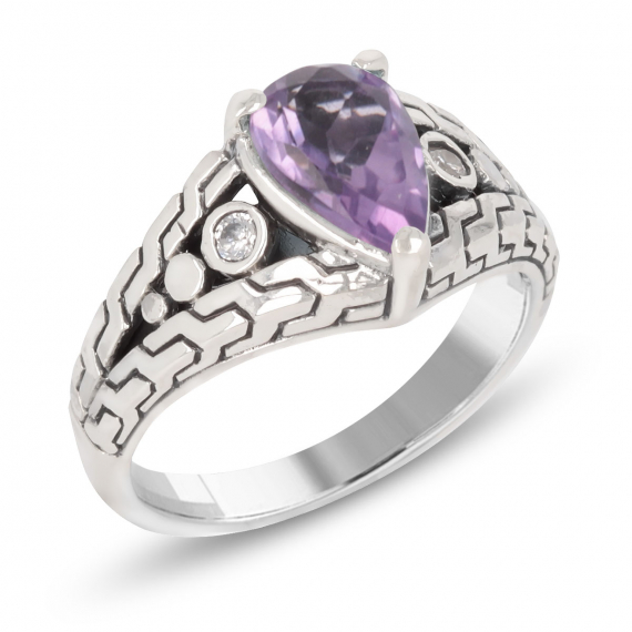 925 Sterling Silver Amethyst pear shape Ring