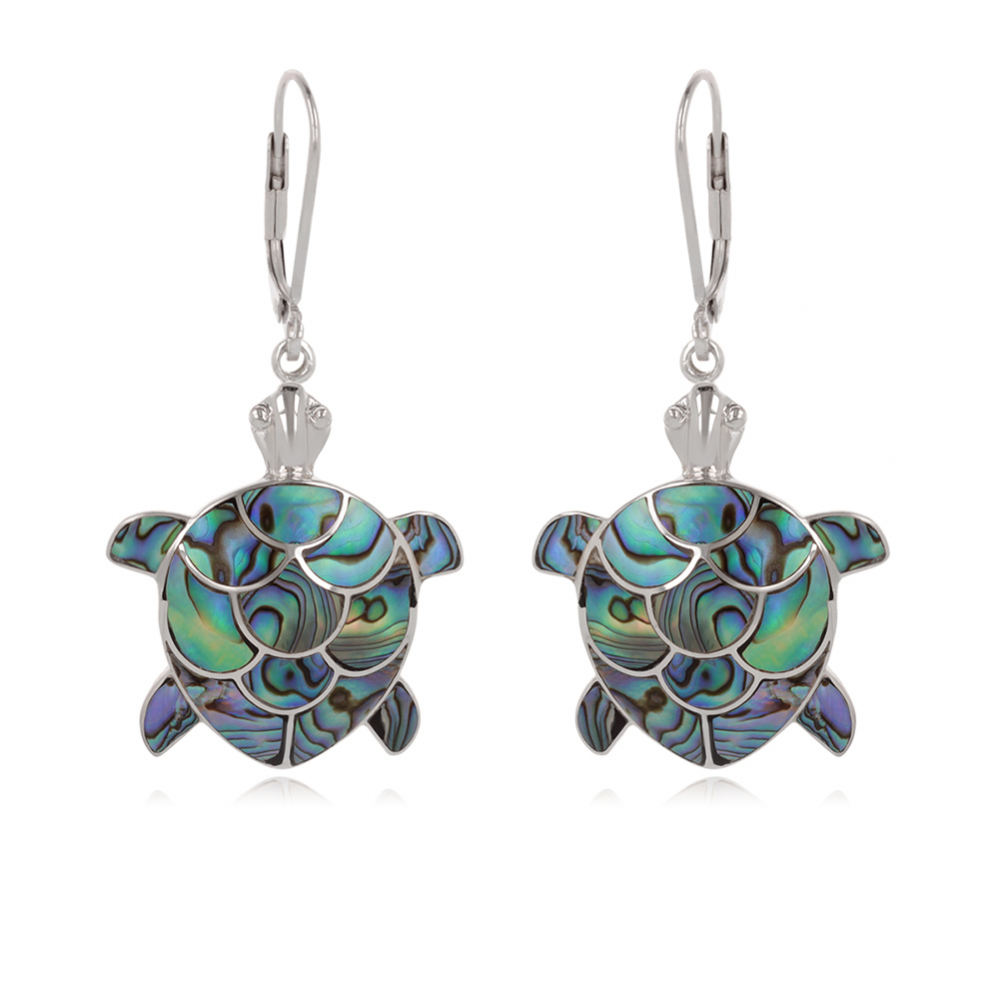 925 Sterling Silver Abalone Mother-of-pearl Tortoise Earrings