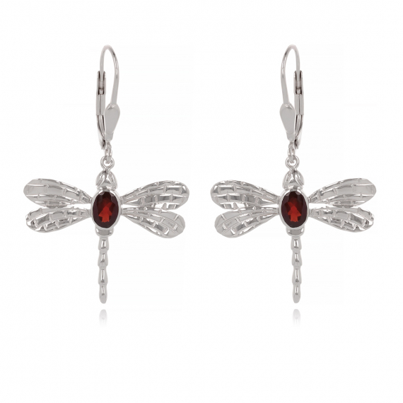 925 Sterling Silver Garnet dragonfly Earrings