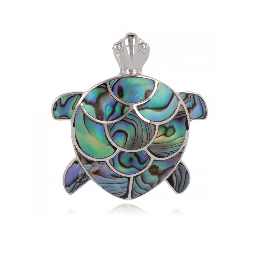 Pendant Gorgon coral turtle shape and rhodium 925 sterling silver