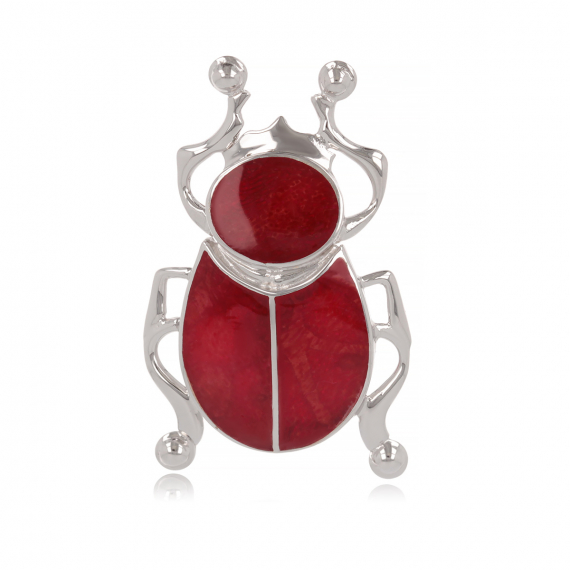 925 Sterling Silver Coral Beetle Pendant