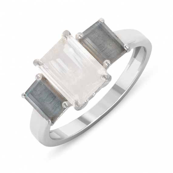 925 Sterling Silver Mooand Labradorite rectangle ring