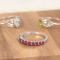 Engagement ring with 5 ruby stones with rhodium 925 sterling silver