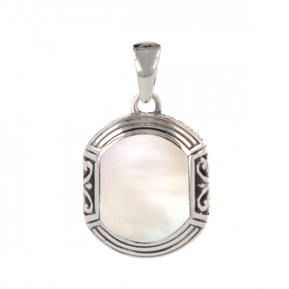 925 Sterling Silver White mother-of-pearl ethnic pendant