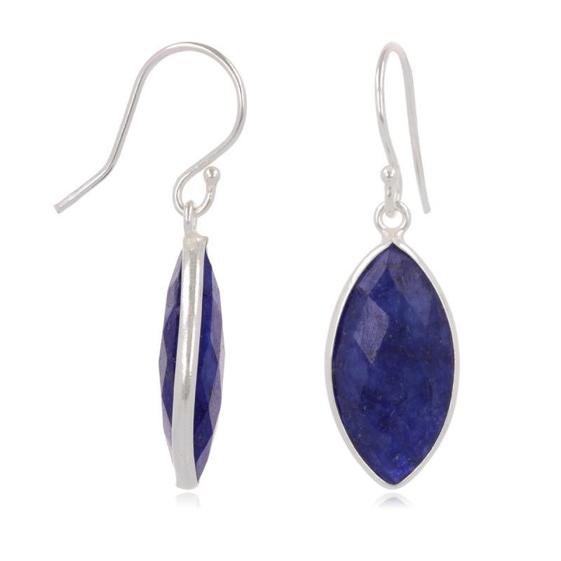 Lapis Lazuli Faceted Earrings , Setting 925 Sterling Silver