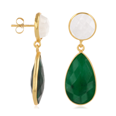 Emerald and Moonstone Earrings, setting fine gold plated on 925 sterling silver