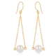 Gold plated 925 sterling silver white pearls earrings