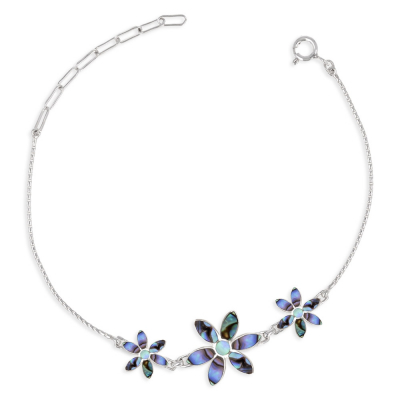 Bracciale in argento sterling 925 Abalone Flowers