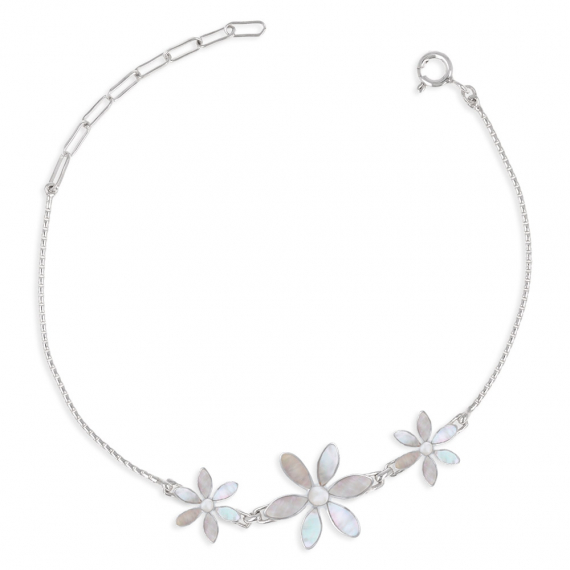 925 Sterling Silver White Mother-of-pearl Flowers Bracelet