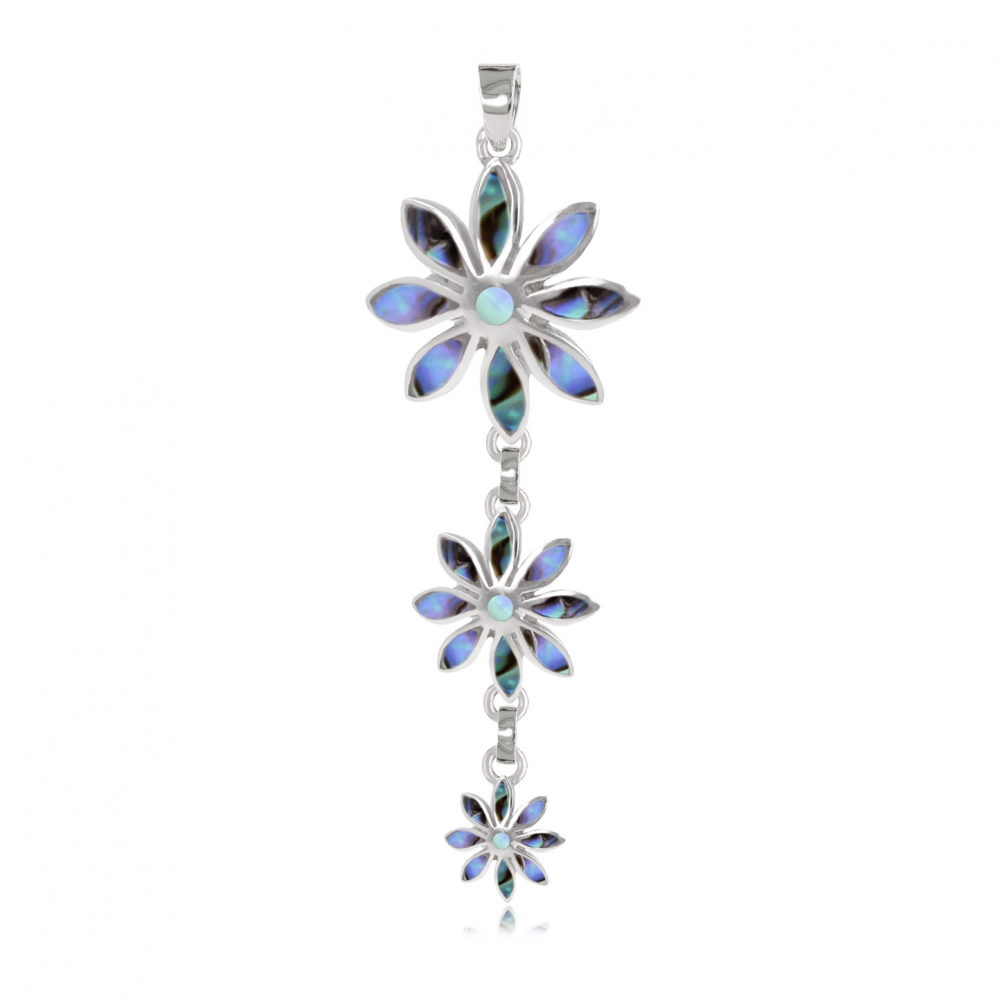 925 Sterling Silver Abalone Pendant 3 flowers